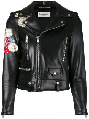 Кожаная куртка с вышивкой Saint Laurent. Цвет: чёрный