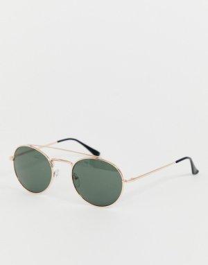 Круглые солнцезащитные очки с двойной планкой -Золотой AJ Morgan