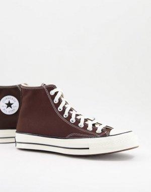 Темно-коричневые высокие кеды Chuck 70-Коричневый цвет Converse