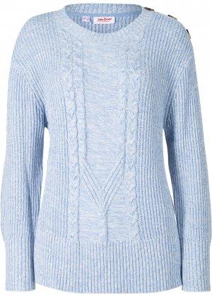 Пуловер с узором косичка bonprix. Цвет: белый