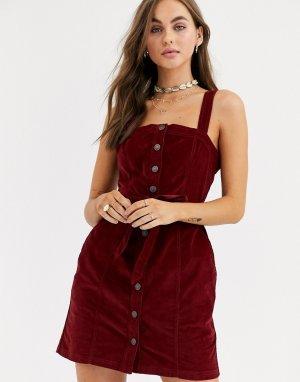 Вельветовое платье-сарафан на пуговицах -Красный Abercrombie & Fitch
