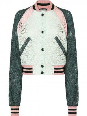 Кружевной бомбер Dolce & Gabbana. Цвет: белый