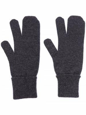 Перчатки в рубчик Maison Margiela. Цвет: серый