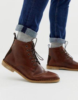 Светло-коричневые кожаные ботинки чукка с замшевой отделкой -Коричневый цвет ASOS DESIGN