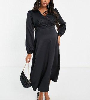 Черное атласное платье миди с застежкой на пуговицах спереди -Черный цвет Flounce London Maternity