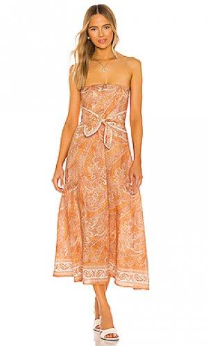 Платье brighton Zimmermann. Цвет: оранжевый