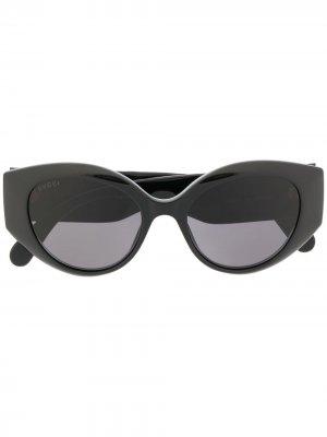 Солнцезащитные очки в оправе кошачий глаз Gucci Eyewear. Цвет: черный