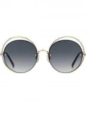 Солнцезащитные очки со стразами Max Mara. Цвет: золотистый
