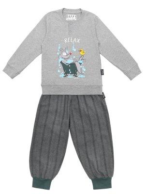 Пижама хлопковая с принтом HAPPY PEOPLE