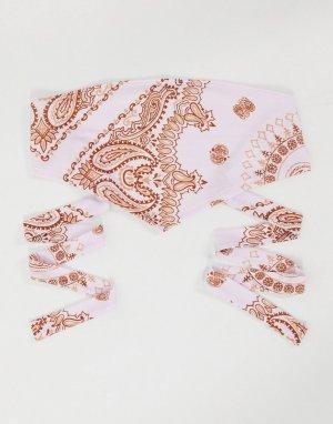 Пляжный топ в форме платок-бандо с фиолетовым принтом пейсли от комплекта -Мульти ASOS DESIGN