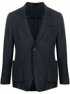 Фактурный пиджак Giorgio Armani. Цвет: синий