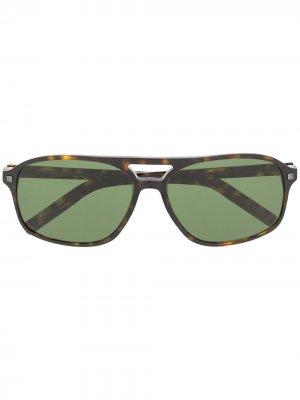 Солнцезащитные очки в массивной оправе Ermenegildo Zegna. Цвет: коричневый