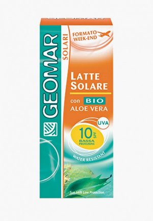 Молочко для тела Geomar солнцезащитное, с уровнем защиты SPF 10, 75мл. Цвет: прозрачный