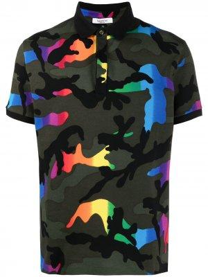 Camouflage print polo shirt Valentino. Цвет: зеленый