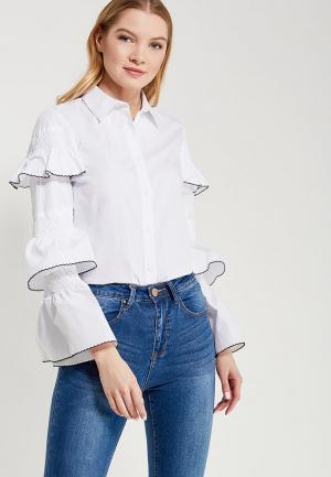 Блуза LOST INK FRILL SHIRRED DETAIL SHIRT. Цвет: белый