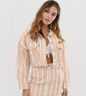 Джинсовая куртка в полоску -Мульти Missguided Petite