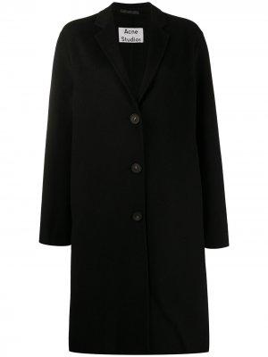 Однобортное пальто средней длины Acne Studios. Цвет: черный