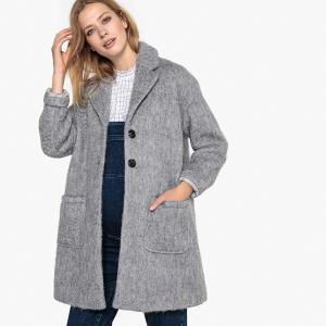 Пальто средней длины из полушерстяной ткани для периода беременности LA REDOUTE MATERNITÉ. Цвет: серый