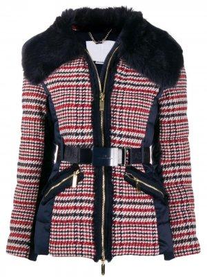 Твидовый пиджак с контрастными вставками Elisabetta Franchi. Цвет: синий