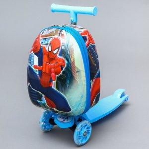 Чемодан дет чп, с самокатом, отд на молнии, 3 колеса, синий Disney