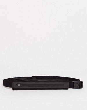Сумка-кошелек на пояс с черной и серебристой отделкой Running-Черный Nike