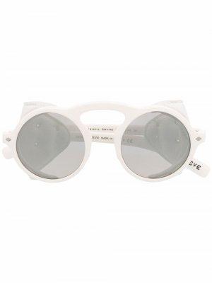 Солнцезащитные очки с отделкой из искусственной кожи Giorgio Armani. Цвет: белый