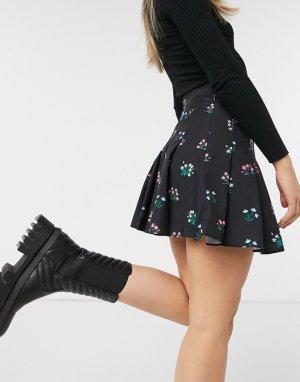 Плиссированная теннисная юбка с цветочным принтом -Черный Skinnydip