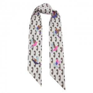 Шелковы шарф-бандо Furla. Цвет: серый