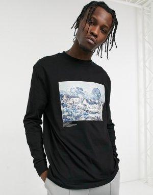 Черный лонгслив с пейзажным фотопринтом картин Ван Гога -Черный цвет ASOS DESIGN