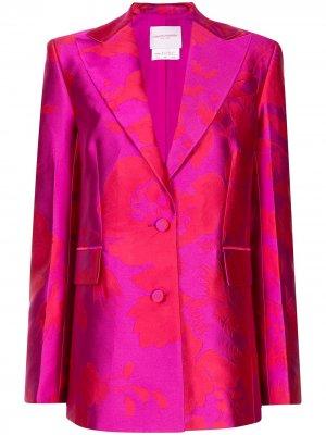 Жаккардовый блейзер оверсайз с цветочным принтом Carolina Herrera. Цвет: розовый