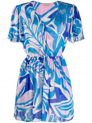 Короткое пляжное платье с принтом Emilio Pucci. Цвет: синий