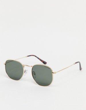 Солнцезащитные очки в золотистой оправе -Золотистый River Island