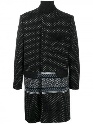 Однобортное пальто вязки интарсия Haider Ackermann. Цвет: черный