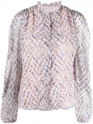 Плиссированная блузка с цветочным принтом Lala Berlin. Цвет: розовый