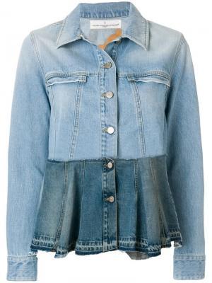 Джинсовая куртка с принтом Golden Goose Deluxe Brand. Цвет: синий