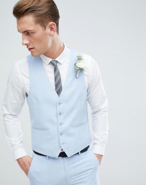 Голубой жилет скинни Moss London Wedding BROS. Цвет: синий