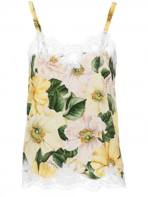 Блузка без рукавов с кружевной вышивкой Dolce & Gabbana. Цвет: нейтральные цвета
