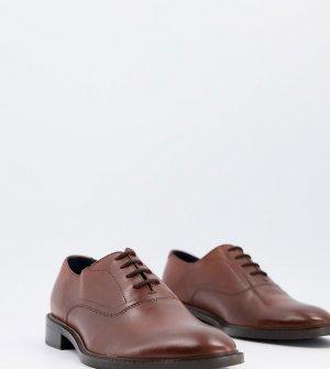 Строгие оксфордские броги на шнуровке из коричневой кожи Wide Fit-Коричневый Dune