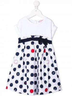 Платье в горох Lili Gaufrette. Цвет: белый