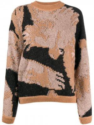 Джемпер с абстрактным узором вязки интарсия Lala Berlin. Цвет: нейтральные цвета