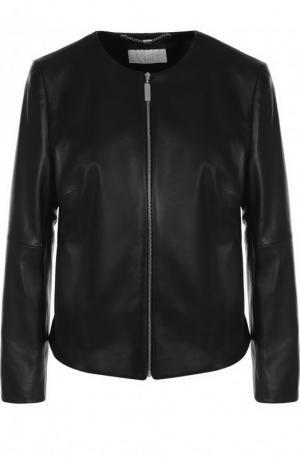 Кожаная куртка с укороченным рукавом Escada Sport. Цвет: черный