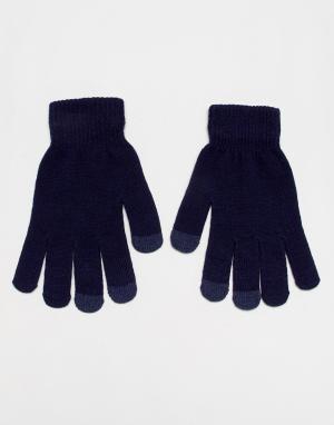 Темно-синие перчатки с отделкой для сенсорных устройств SVNX-Темно-синий 7X