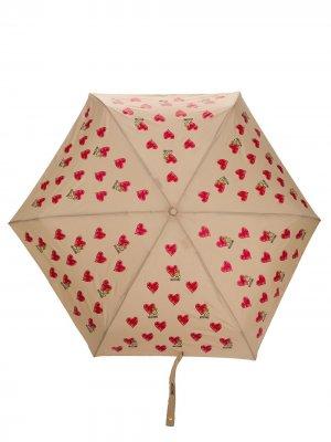 Зонт с узором Moschino. Цвет: коричневый