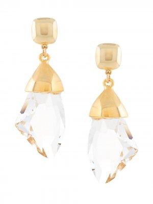 Серьги-подвески с кристаллами Kenneth Jay Lane. Цвет: белый