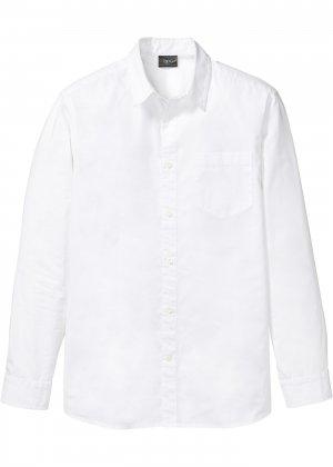 Рубашка с длинным рукавом bonprix. Цвет: белый