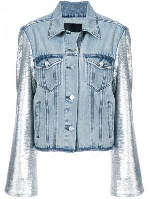 Джинсовая куртка с рукавами в пайетках Rta. Цвет: синий