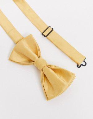 Желтый атласный галстук-бабочка -Золотистый Devils Advocate