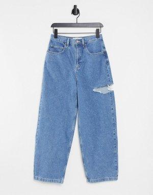 Голубые выбеленные широкие джинсы со рваной отделкой бедра -Голубой Topshop