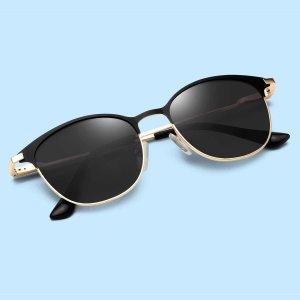 Мужские простые поляризованные солнцезащитные очки SHEIN. Цвет: чёрный