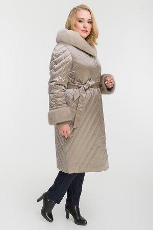 Женское стеганое пальто на большой размер Garioldi. Цвет: бежевый